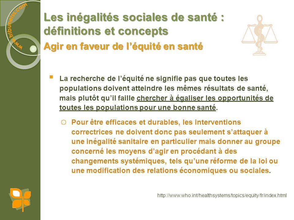 Les inégalités sociales de santé : définitions et concepts La recherche de léquité ne signifie pas que toutes les populations doivent atteindre les mê