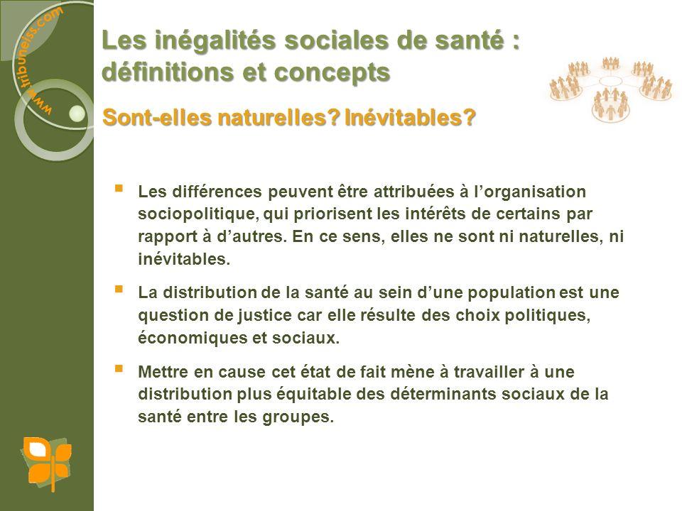 Les inégalités sociales de santé : définitions et concepts Sont-elles naturelles? Inévitables? Les différences peuvent être attribuées à lorganisation