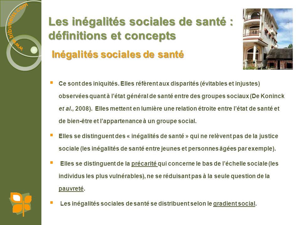Les inégalités sociales de santé : définitions et concepts Ce sont des iniquités. Elles réfèrent aux disparités (évitables et injustes) observées quan