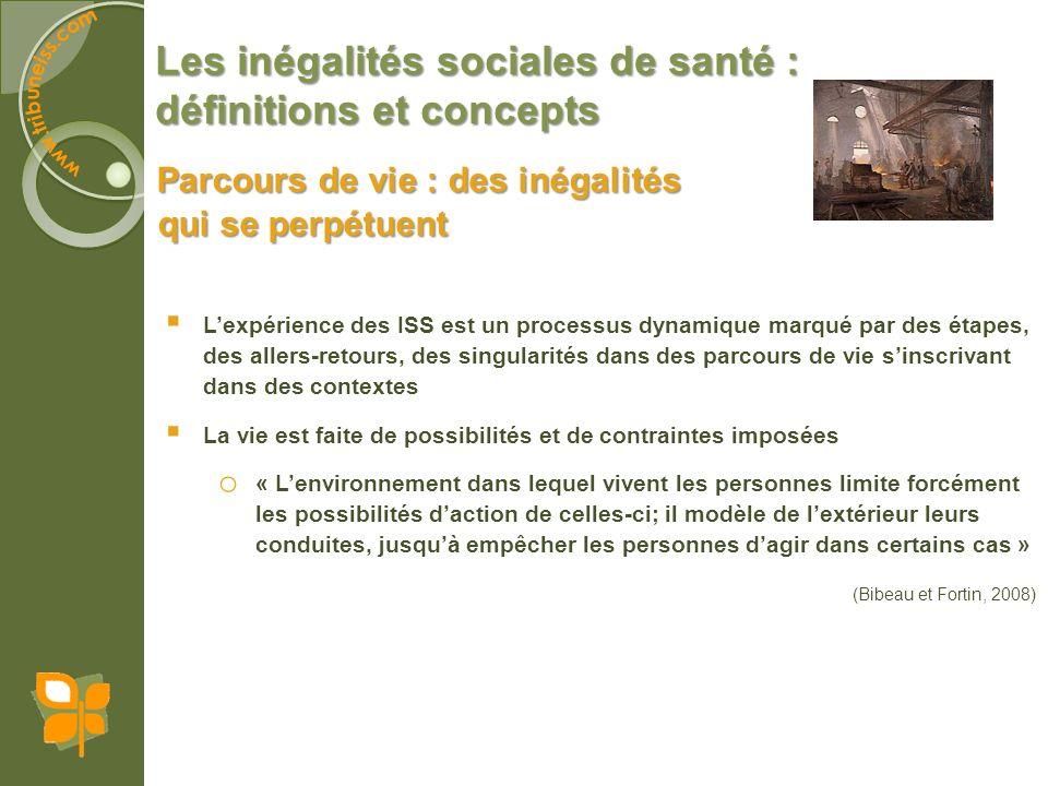 Les inégalités sociales de santé : définitions et concepts Parcours de vie : des inégalités qui se perpétuent Lexpérience des ISS est un processus dyn