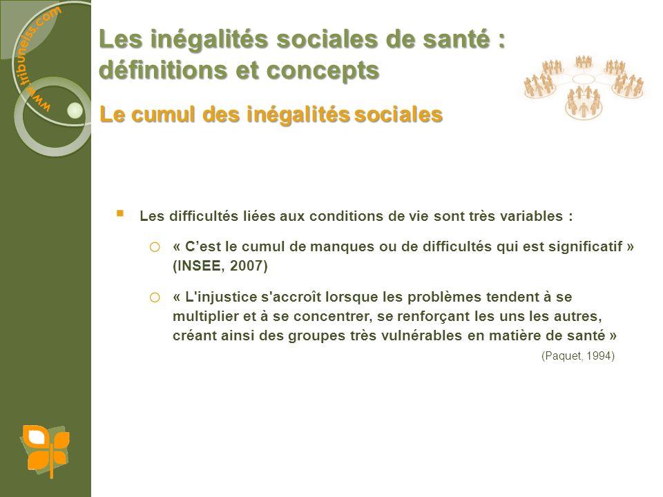 Les inégalités sociales de santé : définitions et concepts Les difficultés liées aux conditions de vie sont très variables : o « Cest le cumul de manq