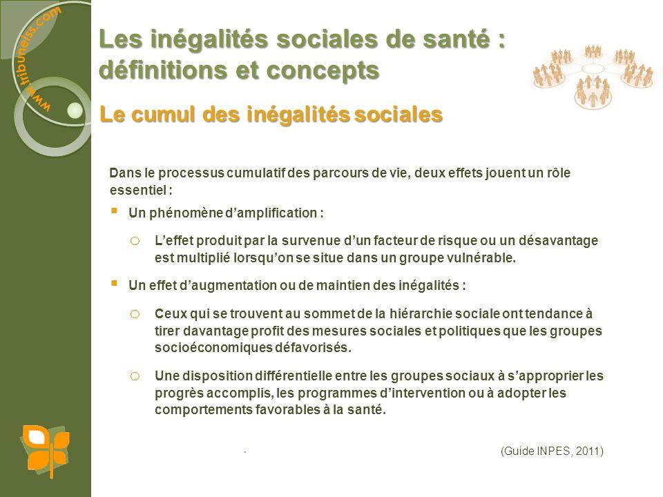 Les inégalités sociales de santé : définitions et concepts Le cumul des inégalités sociales Dans le processus cumulatif des parcours de vie, deux effe