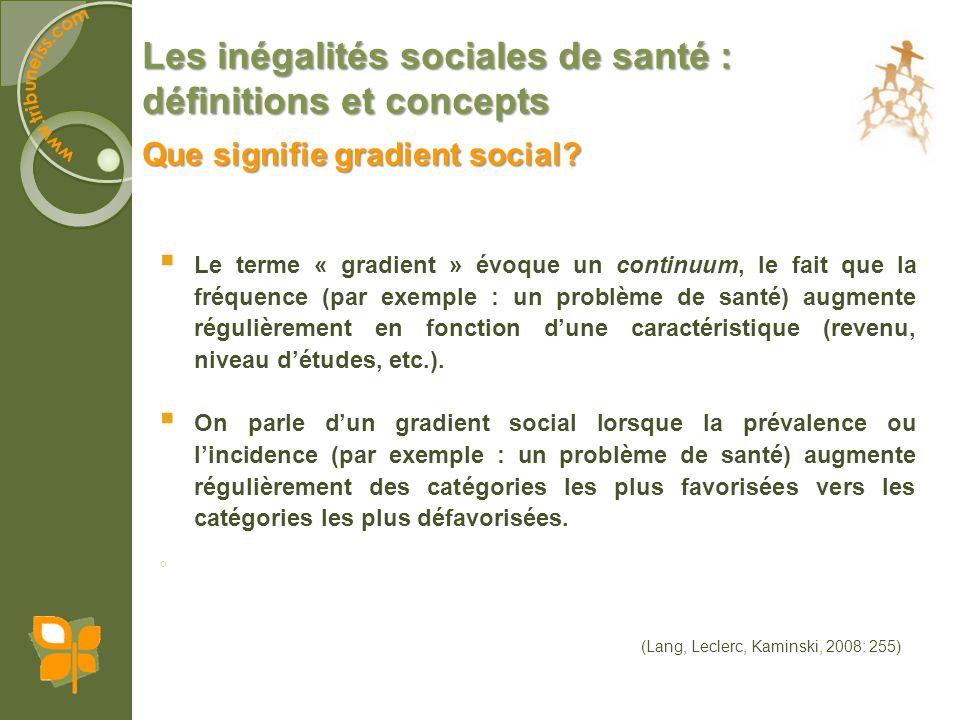 Les inégalités sociales de santé : définitions et concepts Implique que la relation entre le niveau socio-économique et la santé est nivelée.