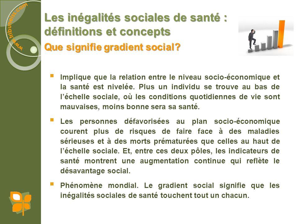 Les inégalités sociales de santé : définitions et concepts Implique que la relation entre le niveau socio-économique et la santé est nivelée. Plus un