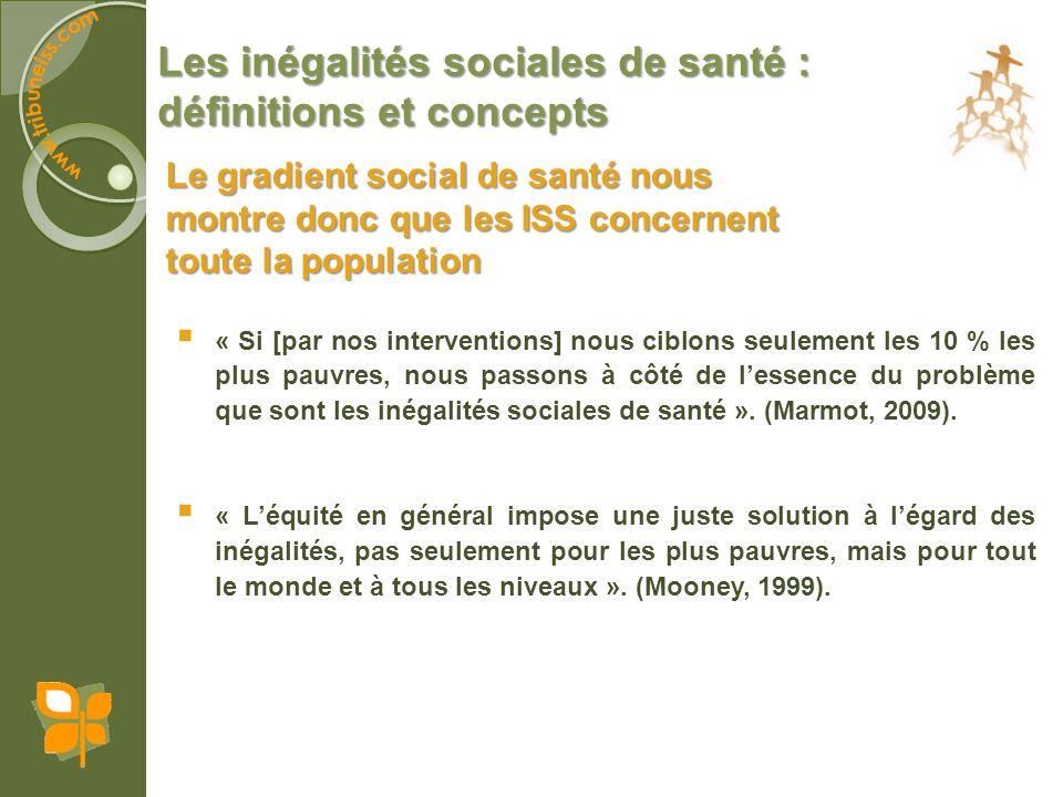 Les inégalités sociales de santé : définitions et concepts Parcours de vie : des inégalités qui se perpétuent Les inégalités sociales de santé se développent, et dans la plupart des cas saccentuent, tout au long du parcours de vie des individus.