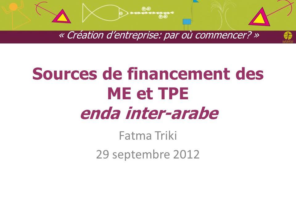 Sources de financement des ME et TPE enda inter-arabe Fatma Triki 29 septembre 2012 « Création dentreprise: par où commencer? »