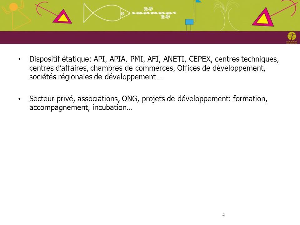 4 Dispositif étatique: API, APIA, PMI, AFI, ANETI, CEPEX, centres techniques, centres daffaires, chambres de commerces, Offices de développement, soci