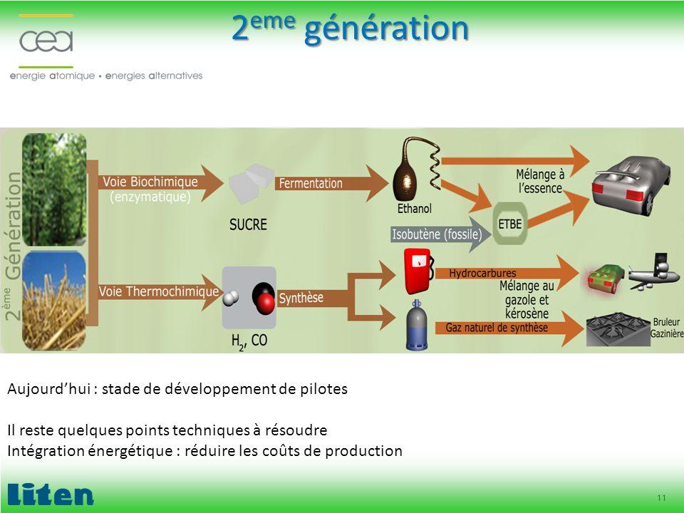 11 2 eme génération Aujourdhui : stade de développement de pilotes Il reste quelques points techniques à résoudre Intégration énergétique : réduire le