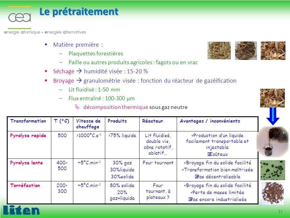 21 Le prétraitement Matière première : –Plaquettes forestières –Paille ou autres produits agricoles : fagots ou en vrac Séchage humidité visée : 15-20