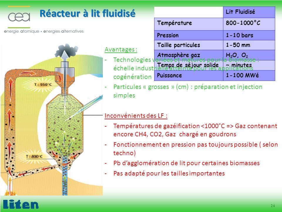 24 Réacteur à lit fluidisé Lit Fluidisé Température800-1000°C Pression1-10 bars Taille particules1-50 mm Atmosphère gazH 2 O, O 2 Temps de séjour soli