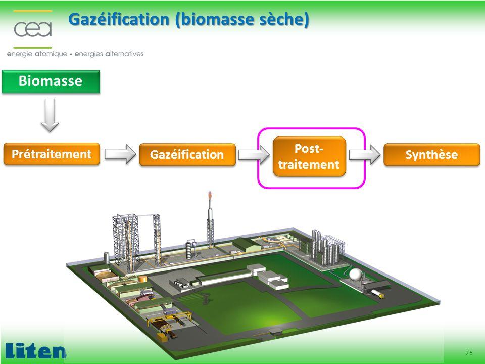 26 Biomasse Prétraitement Gazéification (biomasse sèche) Gazéification Post- traitement Synthèse
