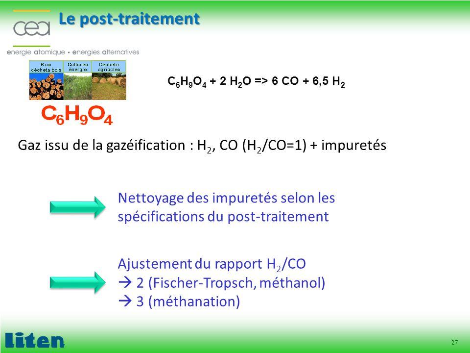 27 Le post-traitement Gaz issu de la gazéification : H 2, CO (H 2 /CO=1) + impuretés Nettoyage des impuretés selon les spécifications du post-traiteme