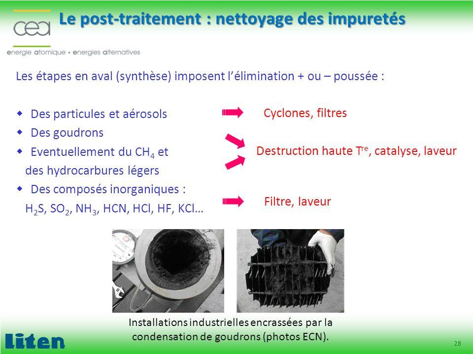 28 Le post-traitement : nettoyage des impuretés Les étapes en aval (synthèse) imposent lélimination + ou – poussée : Des particules et aérosols Des go