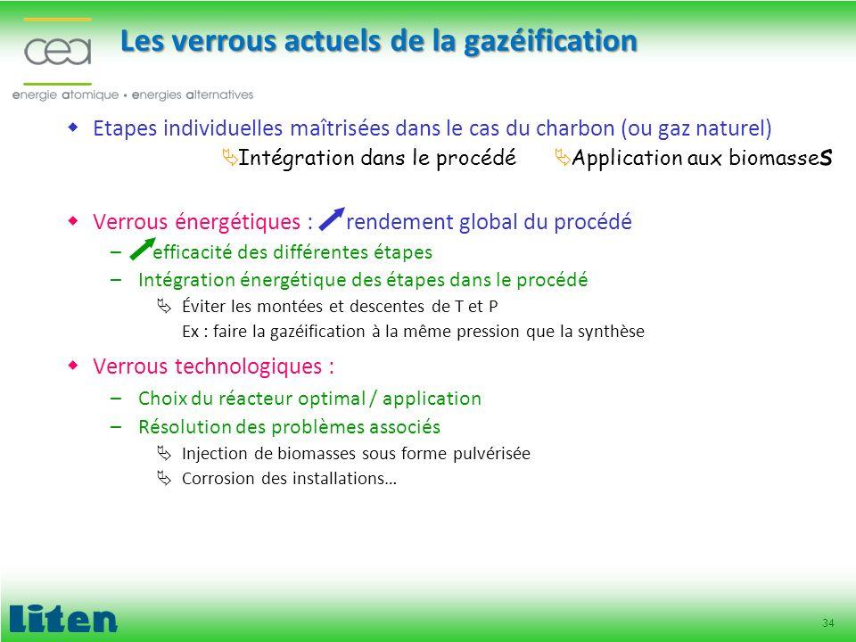 34 Les verrous actuels de la gazéification Etapes individuelles maîtrisées dans le cas du charbon (ou gaz naturel) Verrous énergétiques : rendement gl