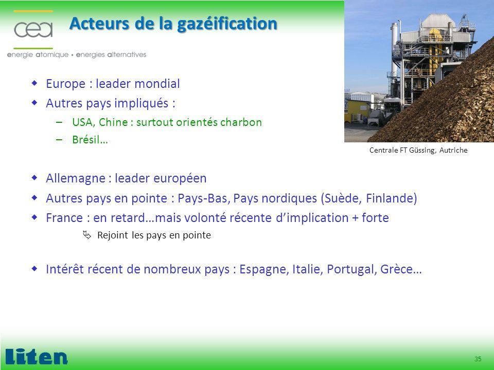 35 Acteurs de la gazéification Europe : leader mondial Autres pays impliqués : –USA, Chine : surtout orientés charbon –Brésil… Allemagne : leader euro