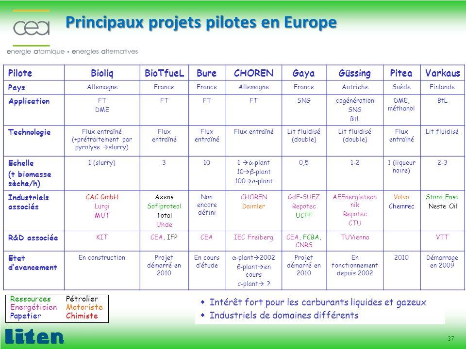 37 Principaux projets pilotes en Europe PiloteBioliqBioTfueLBureCHORENGayaGüssingPiteaVarkaus Pays AllemagneFrance AllemagneFranceAutricheSuèdeFinland