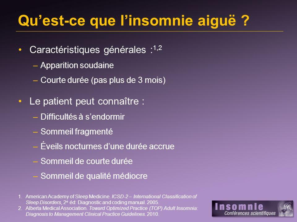 Quest-ce que linsomnie aiguë ? Caractéristiques générales : 1,2 –Apparition soudaine –Courte durée (pas plus de 3 mois) Le patient peut connaître : –D
