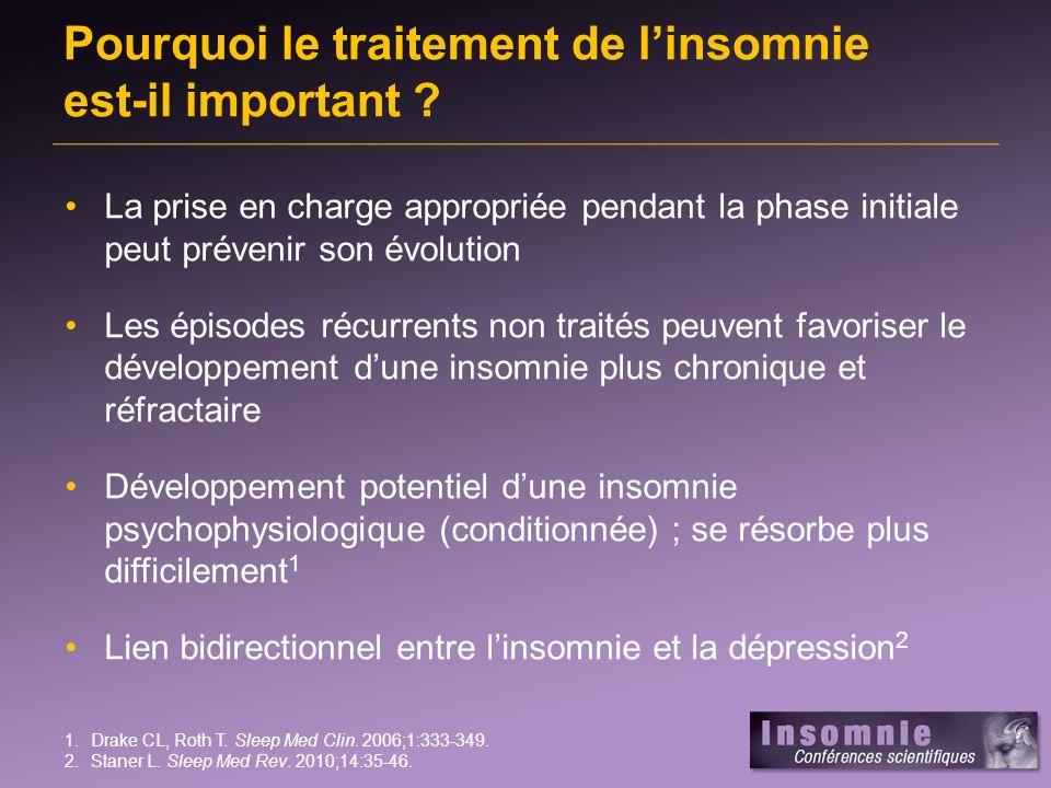 Pourquoi le traitement de linsomnie est-il important ? La prise en charge appropriée pendant la phase initiale peut prévenir son évolution Les épisode