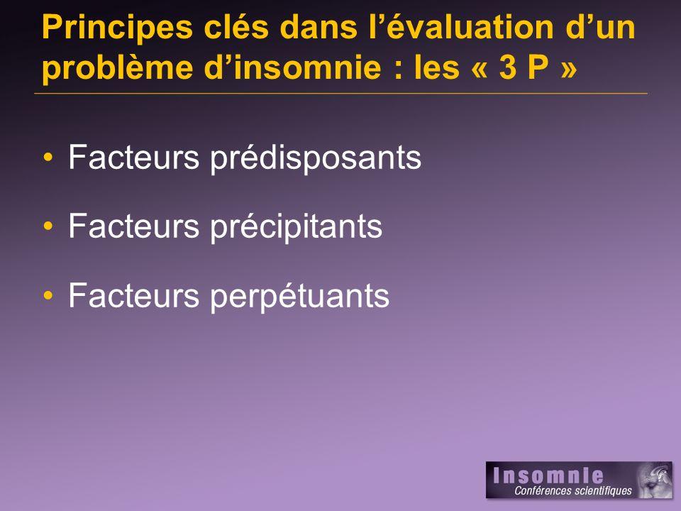 Principes clés dans lévaluation dun problème dinsomnie : les « 3 P » Facteurs prédisposants Facteurs précipitants Facteurs perpétuants