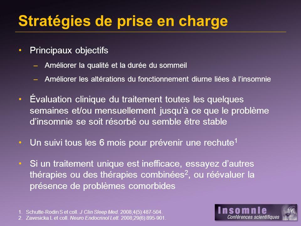 Stratégies de prise en charge Principaux objectifs –Améliorer la qualité et la durée du sommeil –Améliorer les altérations du fonctionnement diurne li