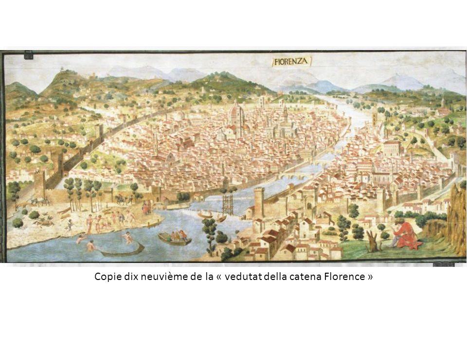 Francesco Rosselli (Firenze 1445 ca. - prima del 1513), Fiorenza.Veduta detta della catena (fine sec. XV); xilografia in sei fogli; 58,5x131,5 cm. Ber