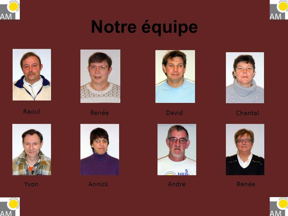 Notre équipe Raoul RenéeDavid YvonAnnickAndréRenée Chantal