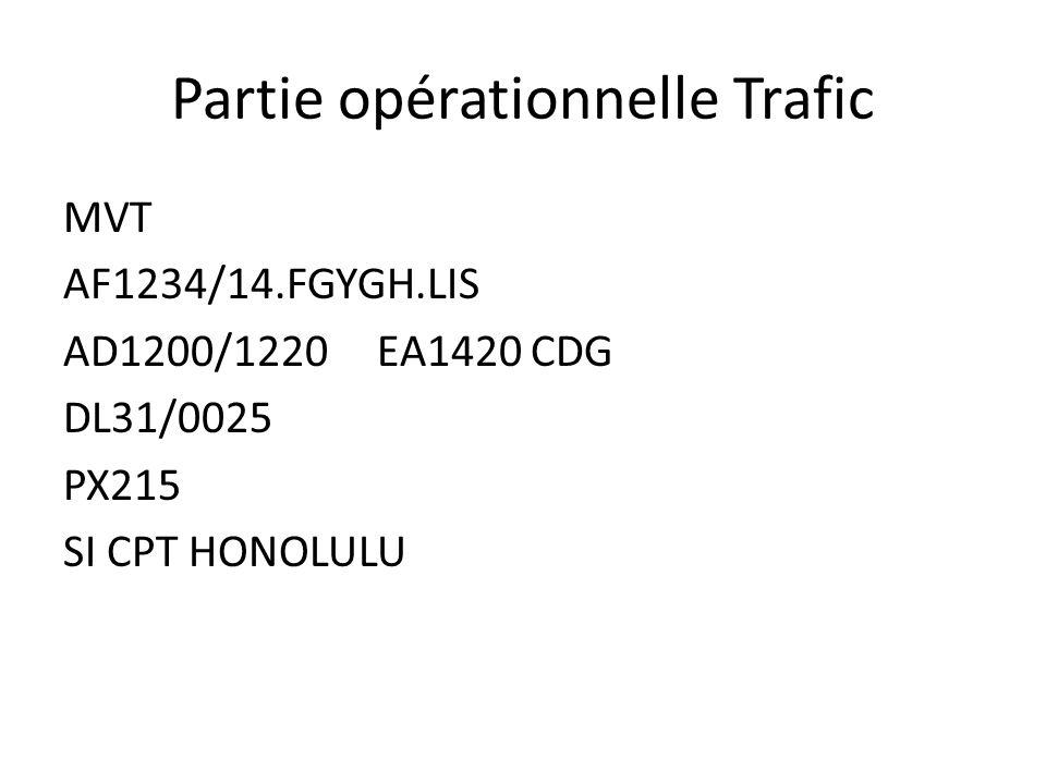 Partie opérationnelle Trafic MVT AF1234/14.FGYGH.LIS AD1200/1220EA1420 CDG DL31/0025 PX215 SI CPT HONOLULU