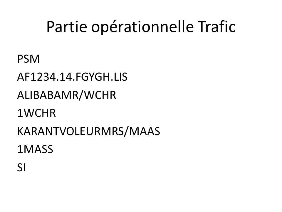Partie opérationnelle Trafic PSM AF1234.14.FGYGH.LIS ALIBABAMR/WCHR 1WCHR KARANTVOLEURMRS/MAAS 1MASS SI