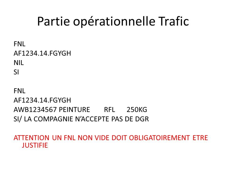 Partie opérationnelle Trafic FNL AF1234.14.FGYGH NIL SI FNL AF1234.14.FGYGH AWB1234567PEINTURE RFL250KG SI/ LA COMPAGNIE NACCEPTE PAS DE DGR ATTENTION