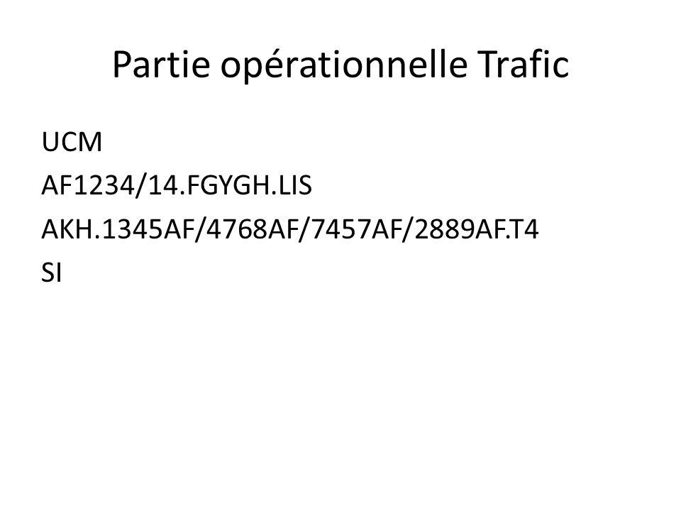 Partie opérationnelle Trafic UCM AF1234/14.FGYGH.LIS AKH.1345AF/4768AF/7457AF/2889AF.T4 SI