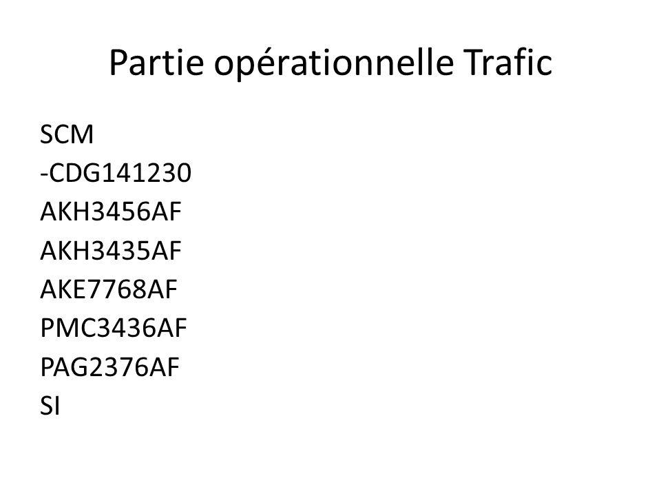 Partie opérationnelle Trafic SCM -CDG141230 AKH3456AF AKH3435AF AKE7768AF PMC3436AF PAG2376AF SI