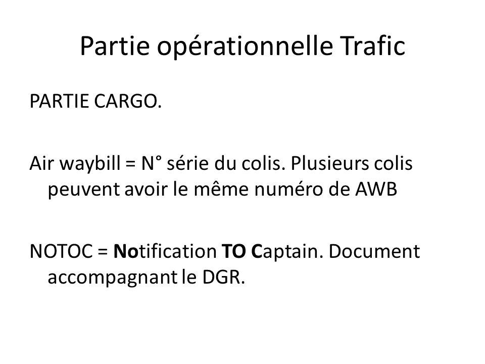 Partie opérationnelle Trafic PARTIE CARGO. Air waybill = N° série du colis. Plusieurs colis peuvent avoir le même numéro de AWB NOTOC = Notification T
