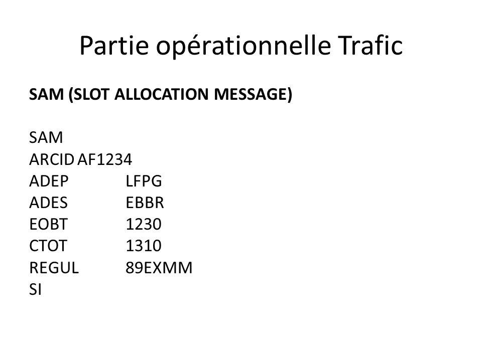 Partie opérationnelle Trafic SAM (SLOT ALLOCATION MESSAGE) SAM ARCIDAF1234 ADEPLFPG ADESEBBR EOBT1230 CTOT1310 REGUL89EXMM SI