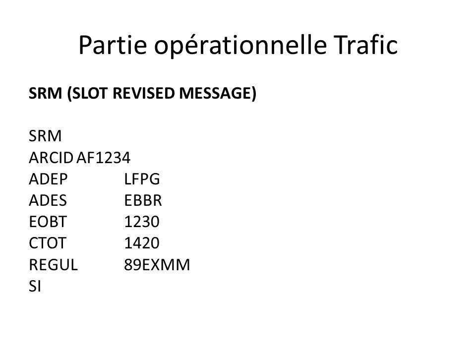 Partie opérationnelle Trafic SRM (SLOT REVISED MESSAGE) SRM ARCIDAF1234 ADEPLFPG ADESEBBR EOBT1230 CTOT1420 REGUL89EXMM SI