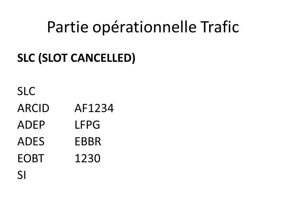 Partie opérationnelle Trafic SLC (SLOT CANCELLED) SLC ARCIDAF1234 ADEPLFPG ADESEBBR EOBT1230 SI