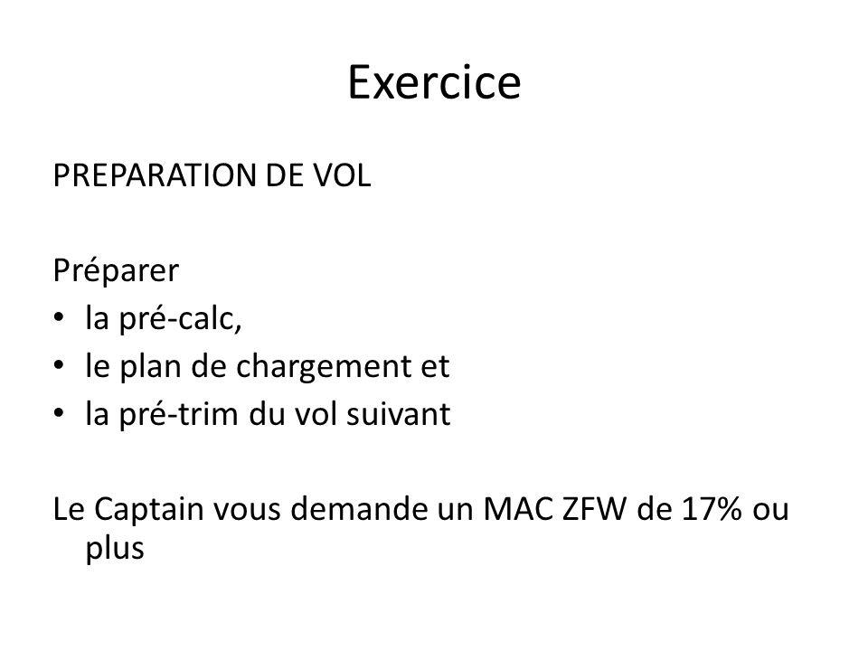 Exercice PREPARATION DE VOL Préparer la pré-calc, le plan de chargement et la pré-trim du vol suivant Le Captain vous demande un MAC ZFW de 17% ou plu