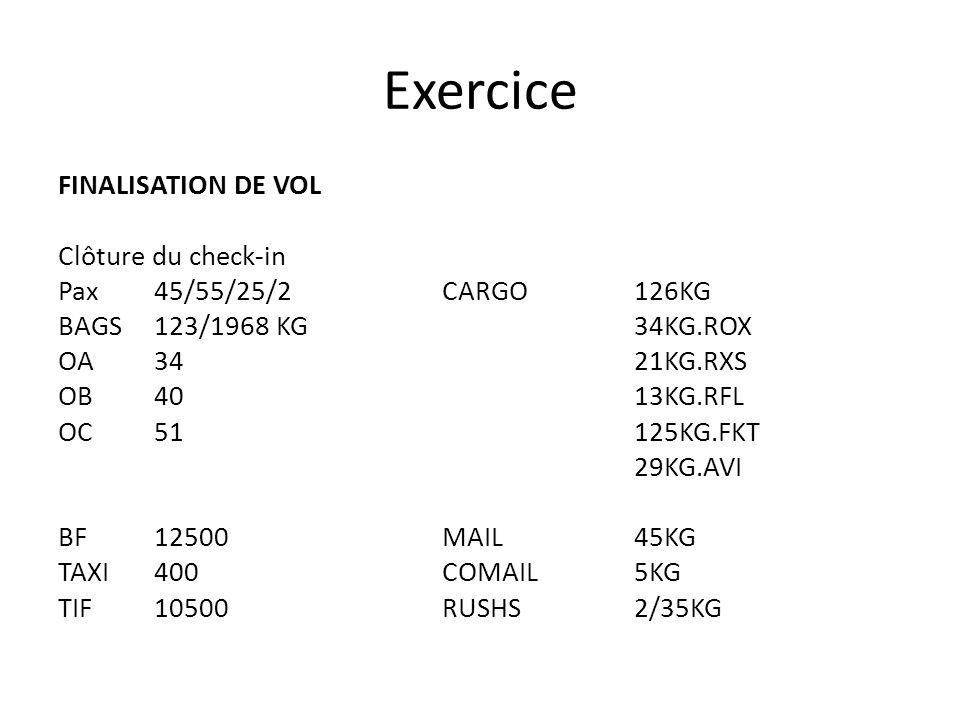 Exercice FINALISATION DE VOL Clôture du check-in Pax45/55/25/2 CARGO126KG BAGS123/1968 KG 34KG.ROX OA34 21KG.RXS OB40 13KG.RFL OC51 125KG.FKT 29KG.AVI