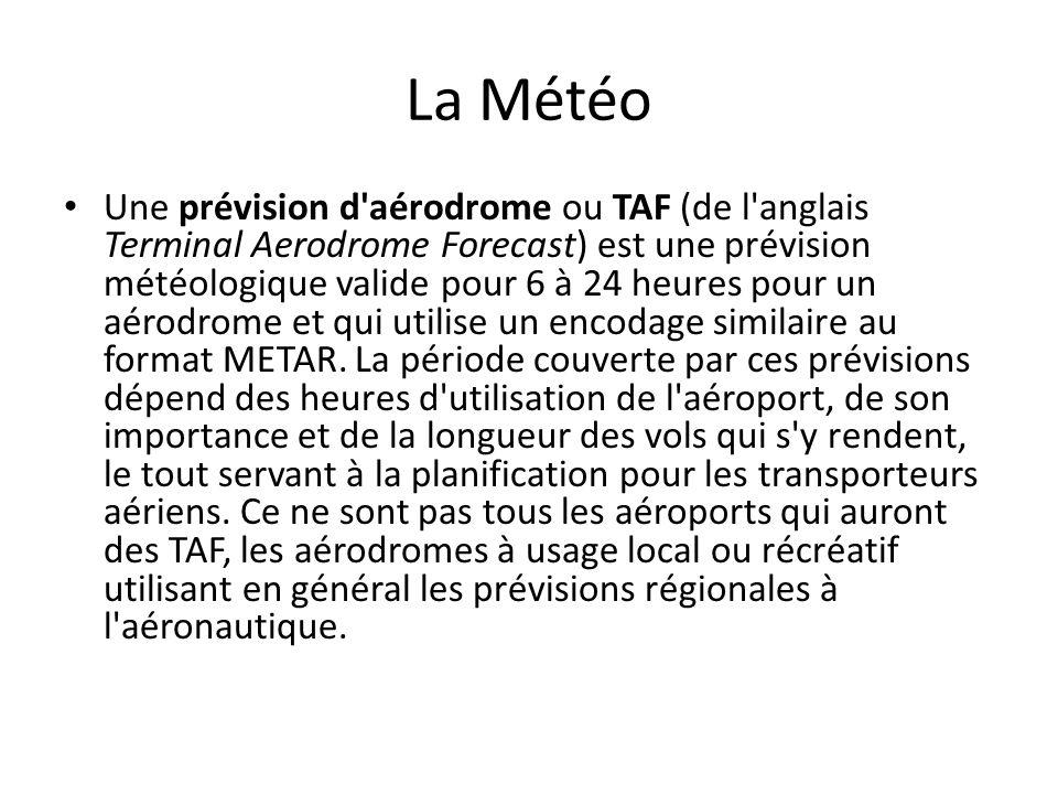La Météo Une prévision d'aérodrome ou TAF (de l'anglais Terminal Aerodrome Forecast) est une prévision météologique valide pour 6 à 24 heures pour un