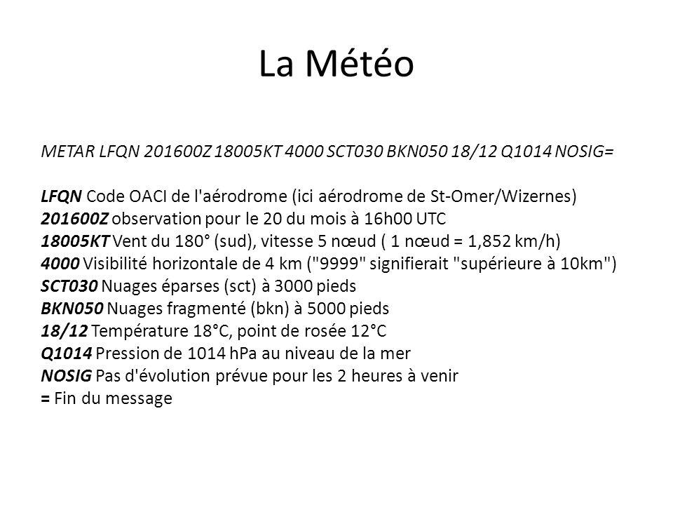La Météo METAR LFQN 201600Z 18005KT 4000 SCT030 BKN050 18/12 Q1014 NOSIG= LFQN Code OACI de l'aérodrome (ici aérodrome de St-Omer/Wizernes) 201600Z ob