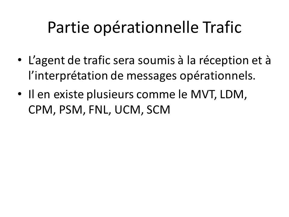 Partie opérationnelle Trafic Lagent de trafic sera soumis à la réception et à linterprétation de messages opérationnels. Il en existe plusieurs comme