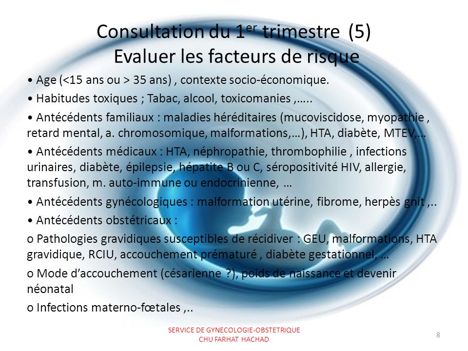 Consultation du 1 er trimestre (6) Prescrire les examens complémentaires Examens biologiques obligatoires.