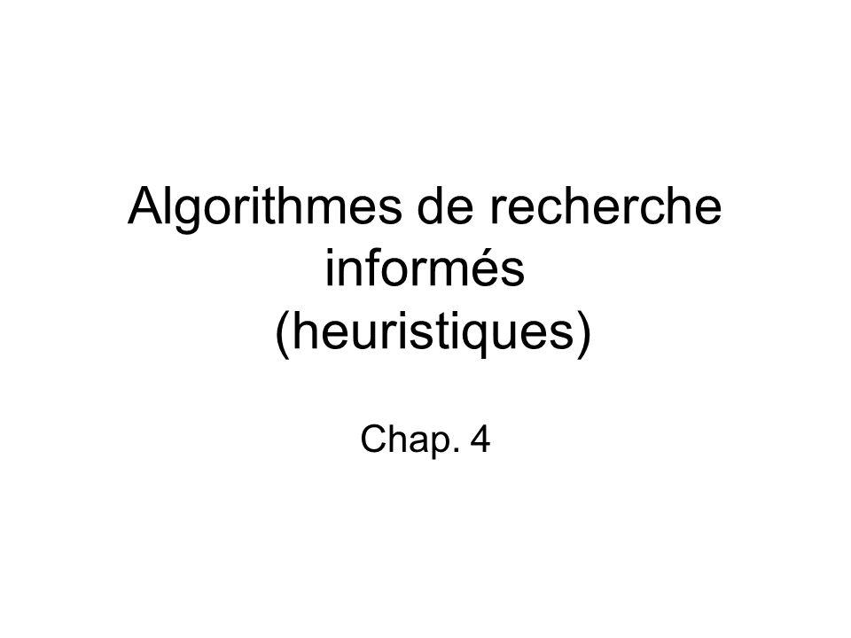 Algorithmes de recherche informés (heuristiques) Chap. 4