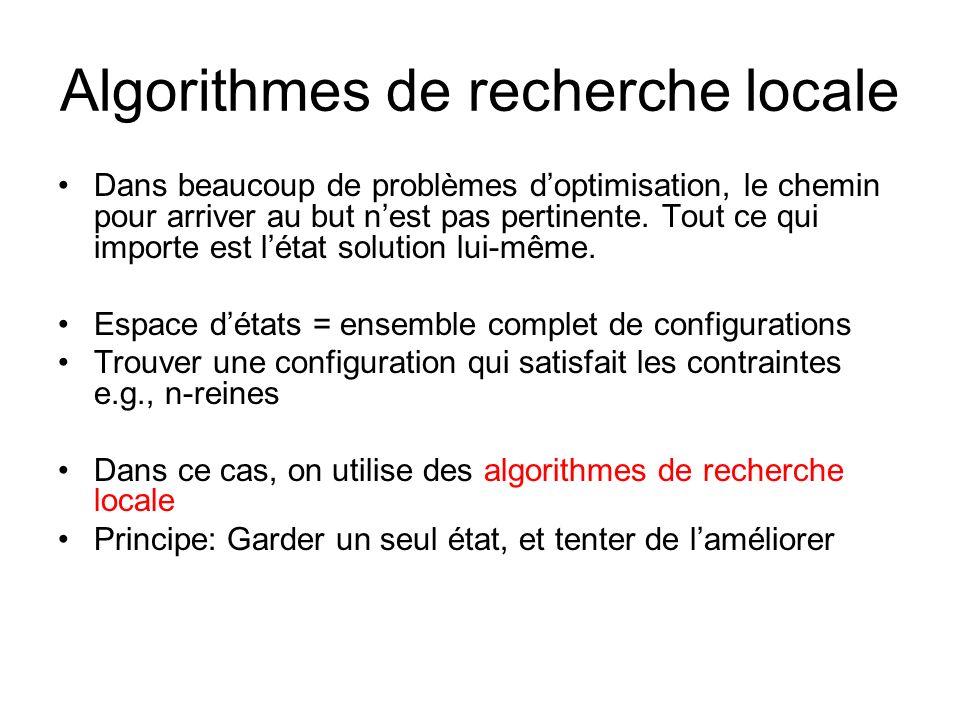 Algorithmes de recherche locale Dans beaucoup de problèmes doptimisation, le chemin pour arriver au but nest pas pertinente. Tout ce qui importe est l