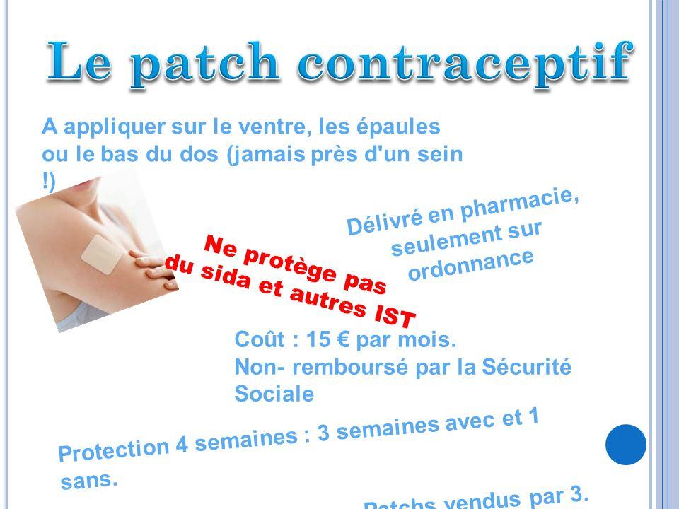 I MPLANT CONTRACEPTIF Taille : environ 4 cm de longueur 2 mm de diamètre Limplant contraceptif se place dans la peau du bras (sous anesthésie) Délivré sur ordonnance Coût : 106,44.