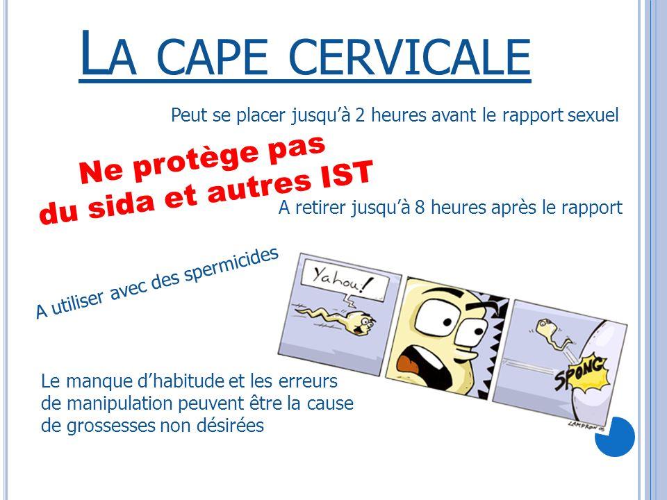 L A CAPE CERVICALE Protection en latex ou en silicone Se glisse dans le vagin au contact du col de lutérus Ne protège pas du sida et autres IST Ne protège pas du sida et autres IST