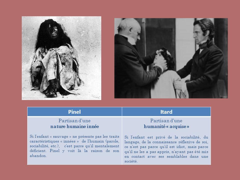 PinelItard Partisan dune nature humaine innée Si lenfant « sauvage » ne présente pas les traits caractéristiques « innées » de lhumain (parole, sociab