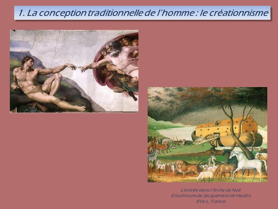 1. La conception traditionnelle de lhomme : le créationnisme L'entrée dans l'Arche de Noé. Enluminure de Jacquemard de Hesdin, XVe s., France.