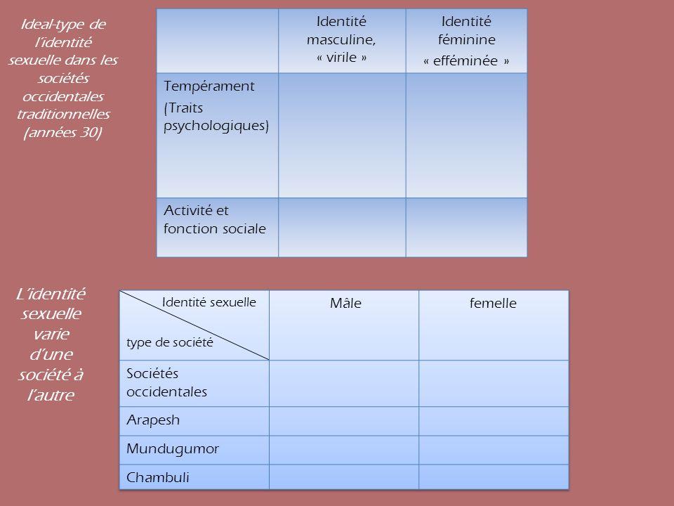 Identité masculine, « virile » Identité féminine « efféminée » Tempérament (Traits psychologiques) Activité et fonction sociale Ideal-type de lidentit