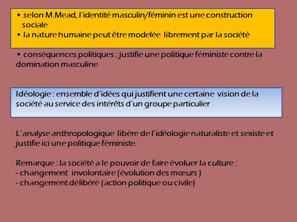 selon M.Mead, lidentité masculin/féminin est une construction sociale la nature humaine peut être modelée librement par la société conséquences politi