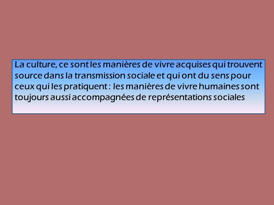 La culture, ce sont les manières de vivre acquises qui trouvent source dans la transmission sociale et qui ont du sens pour ceux qui les pratiquent :